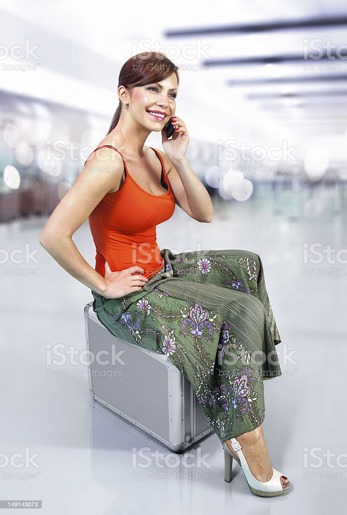 woman in airport l royalty-free stock photo