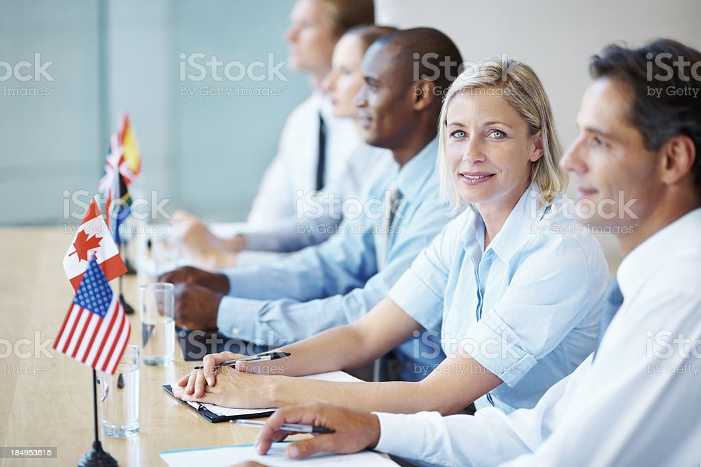 Woman in an international business meeting stock photo