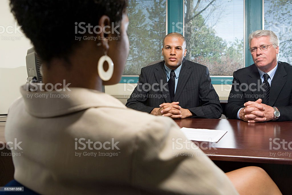 Woman in an interview stock photo