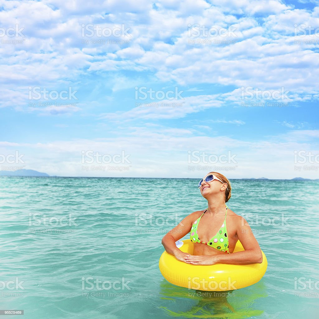 Woman in an ocean royalty-free stock photo