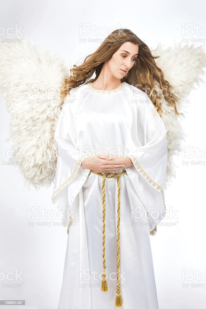 Woman in angel costume stock photo