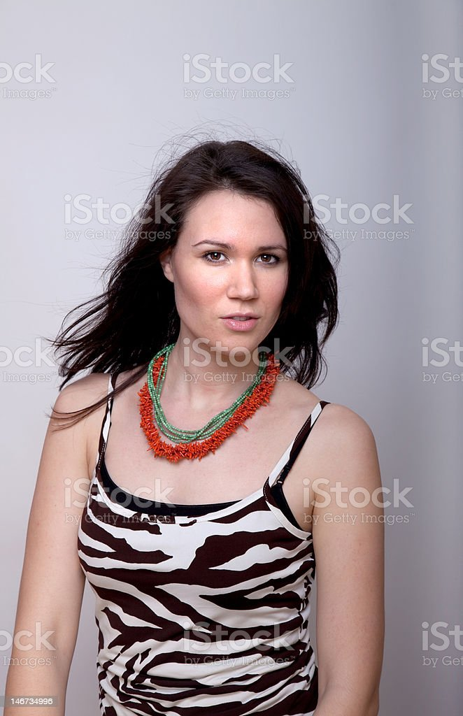 Woman in animal print tank top royalty-free stock photo