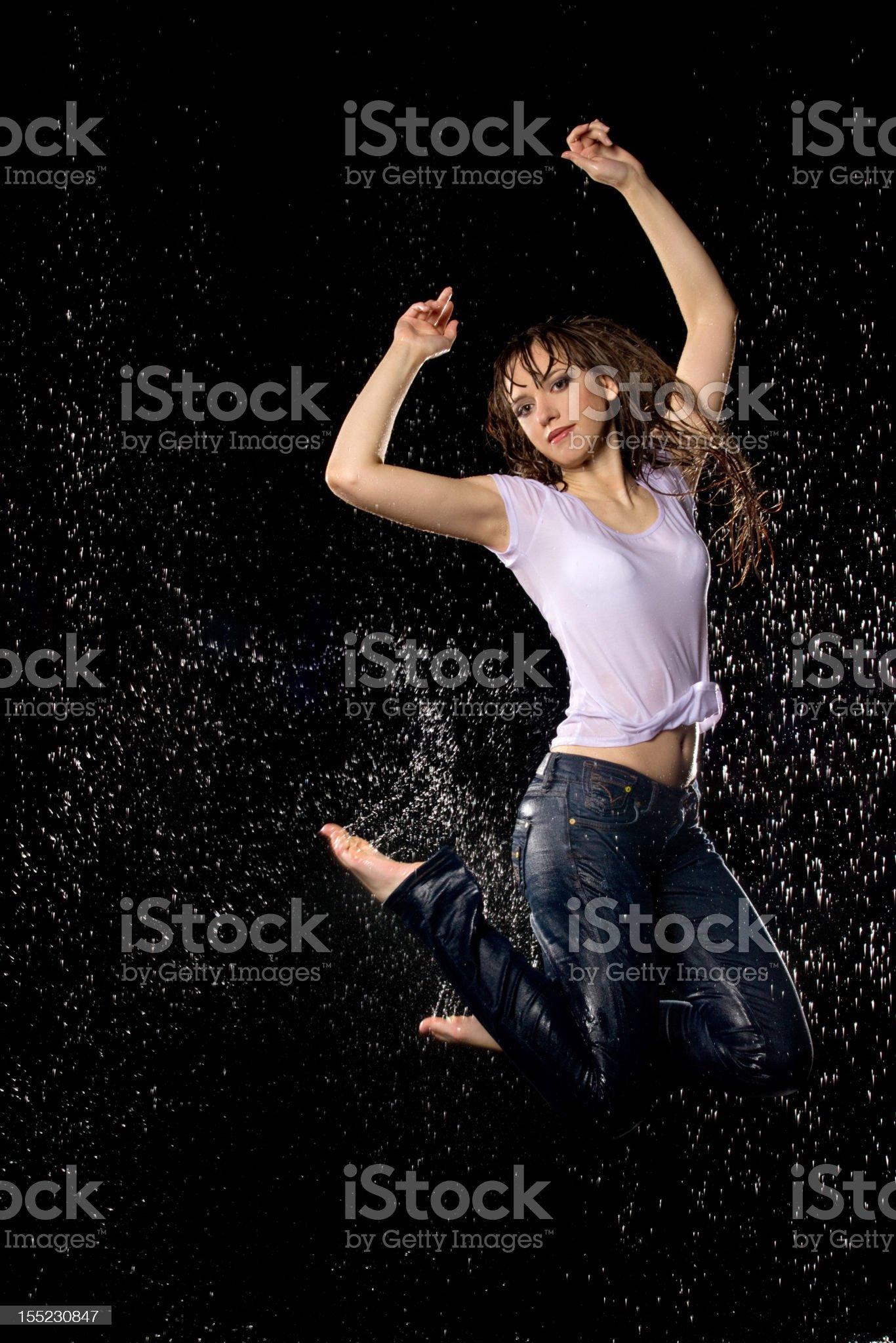 Woman in aquastudio royalty-free stock photo