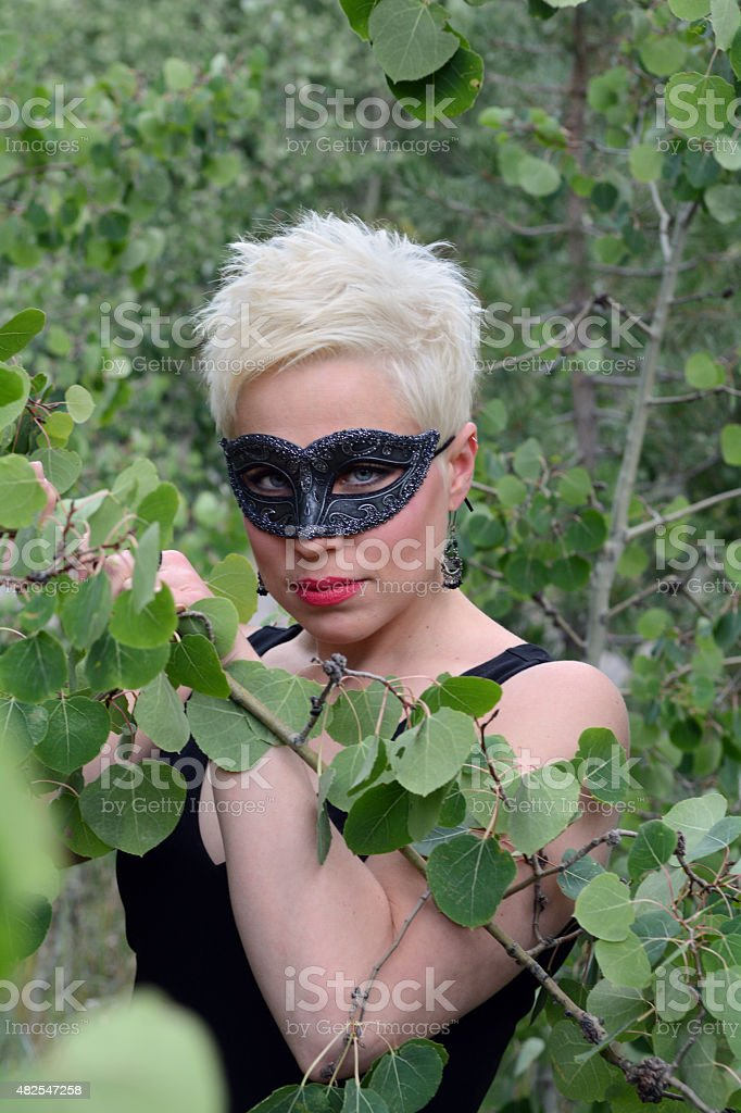 Woman in Aspen Trees royalty-free stock photo