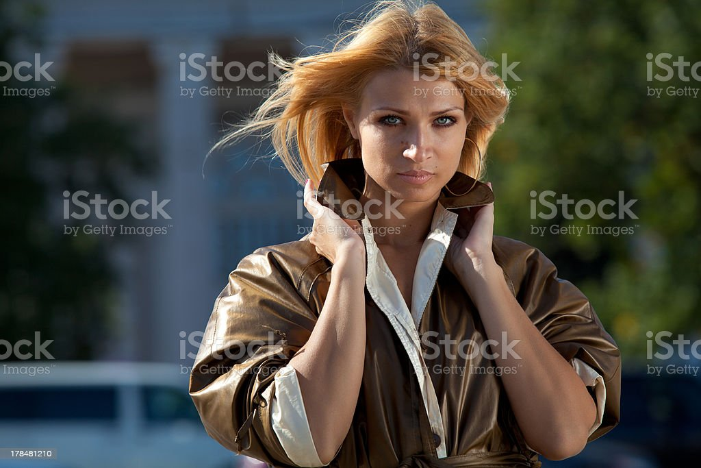 Woman in autumn city royalty-free stock photo