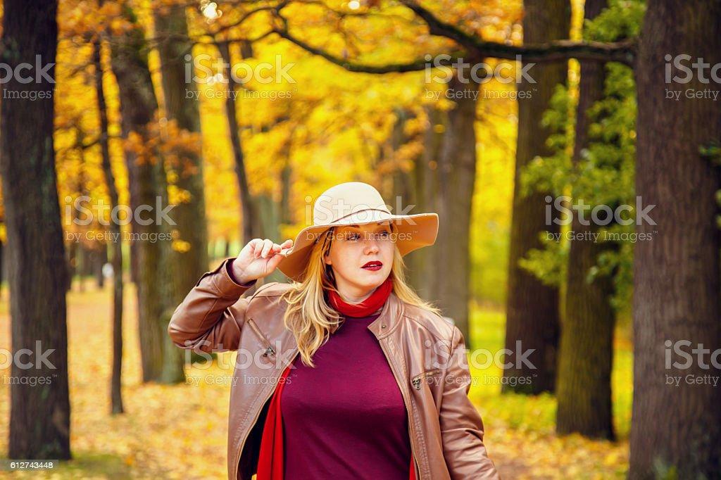 Woman in autumn park. stock photo