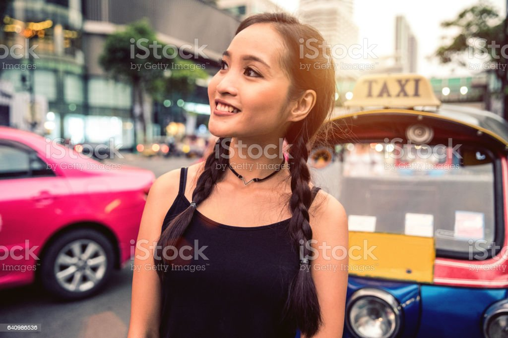 Woman in Bangkok excited to discovering the city stock photo