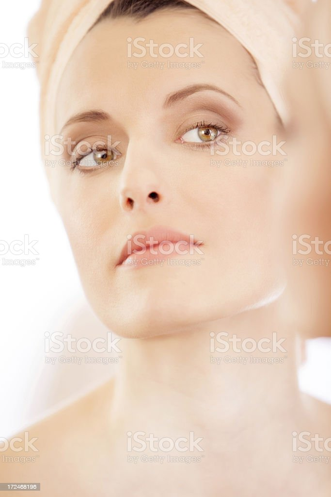 Woman in bathroom royalty-free stock photo