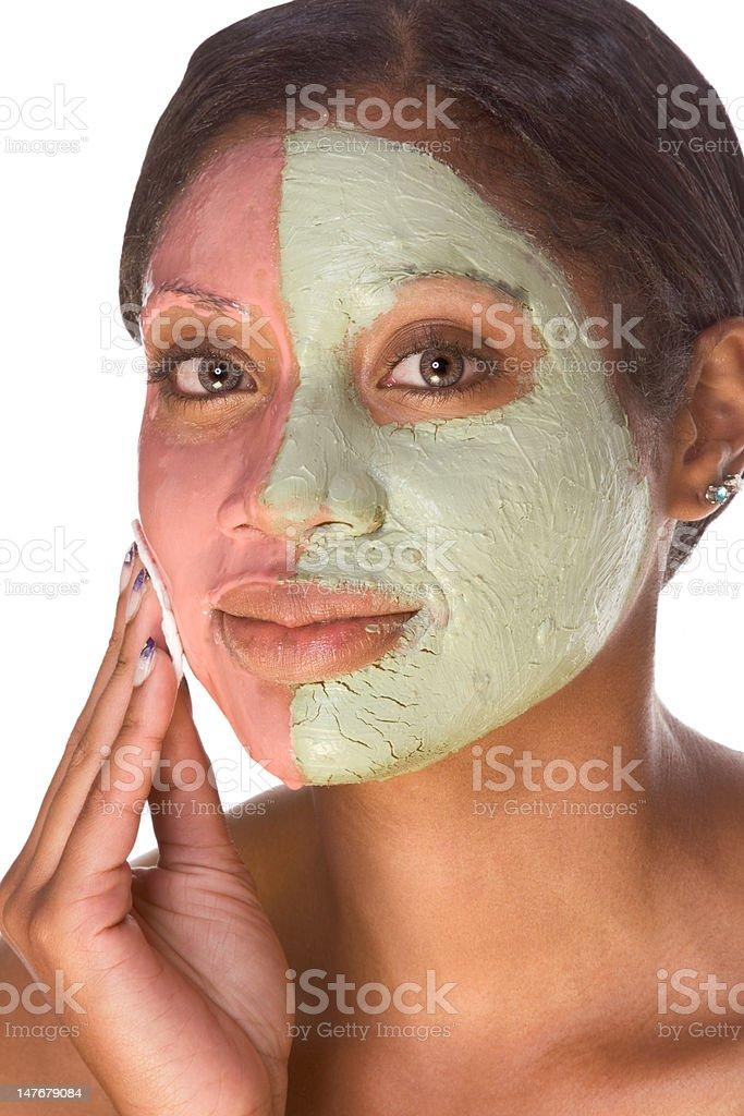 Woman in beauty spa  experimental facial treatment royalty-free stock photo