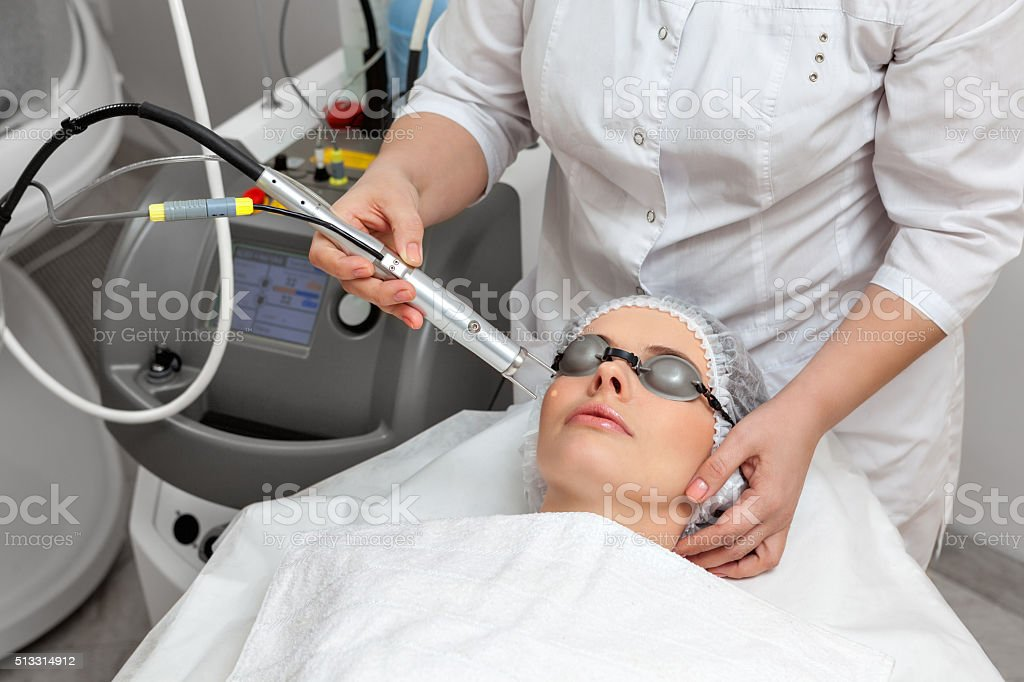 Woman in beauty spa salon stock photo