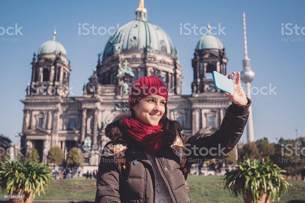 Woman in Berlin stock photo