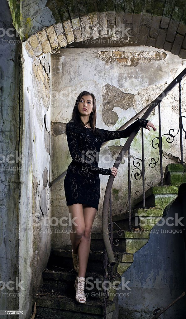 woman in black dress. royalty-free stock photo