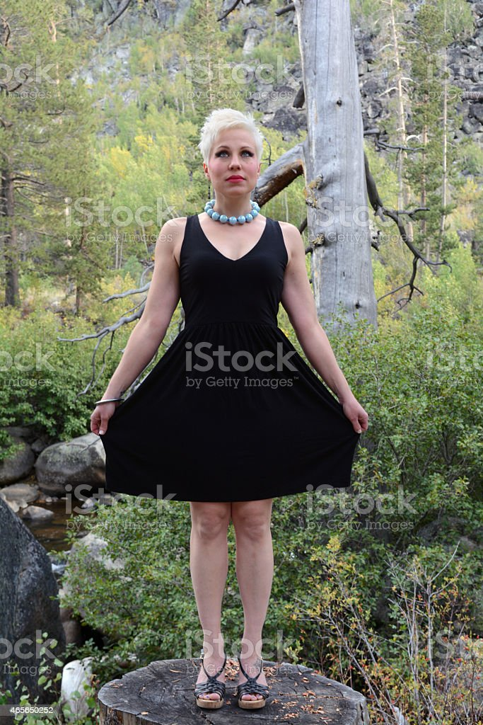 Woman in Black Dress royalty-free stock photo