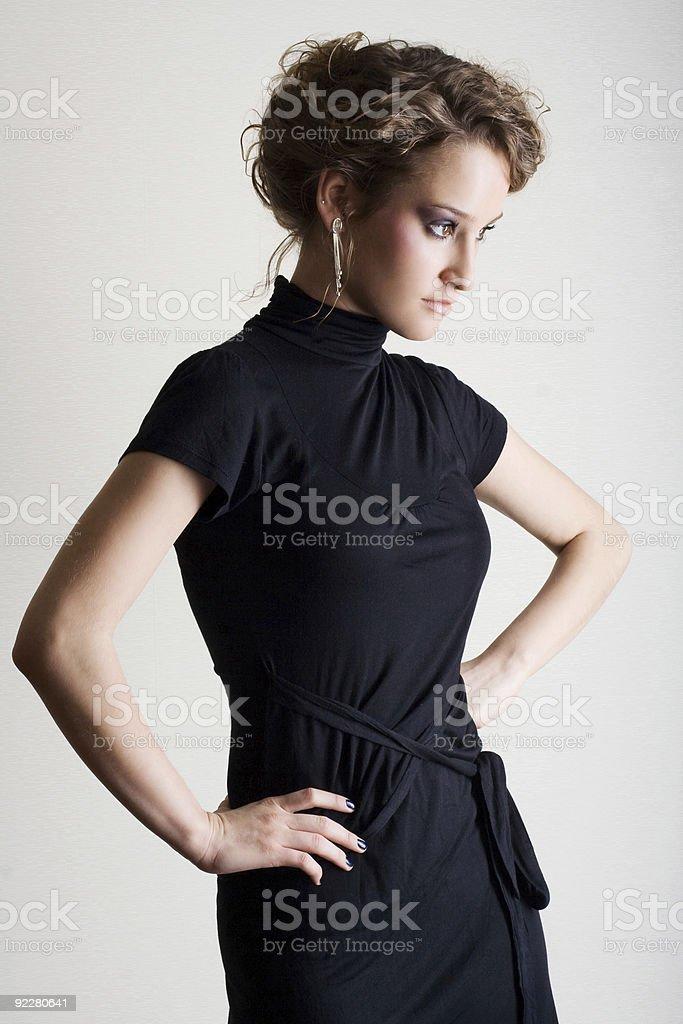 Woman in black dress royalty-free stock photo