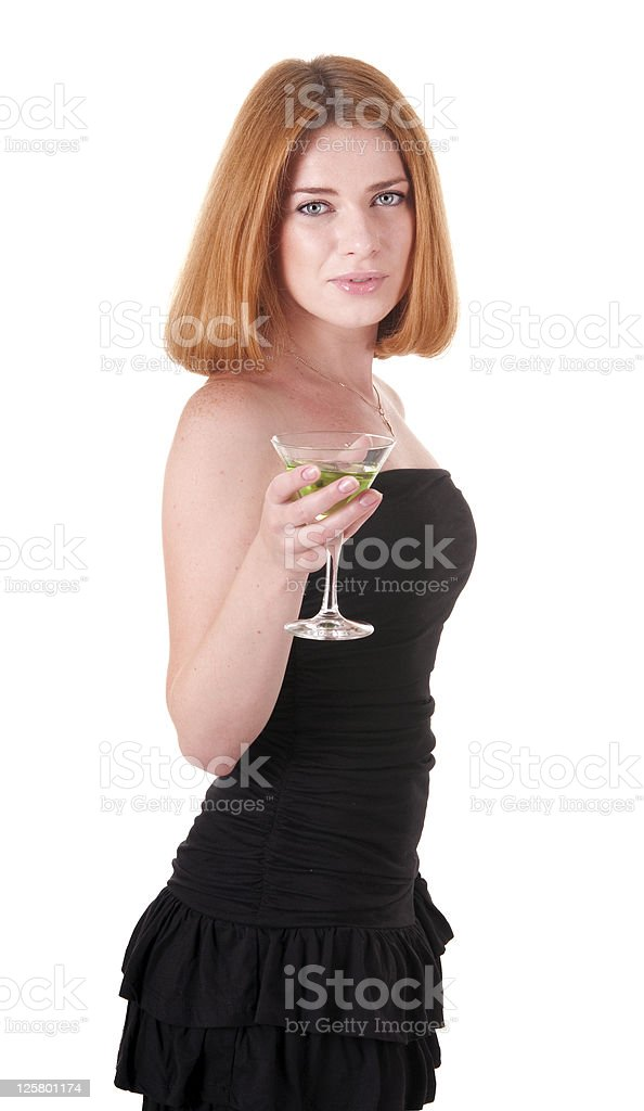 Woman in black dress with a drink royalty-free stock photo