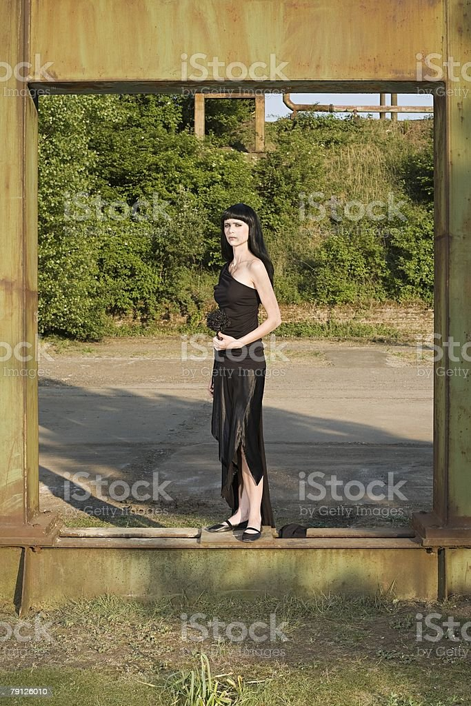Woman in black stock photo