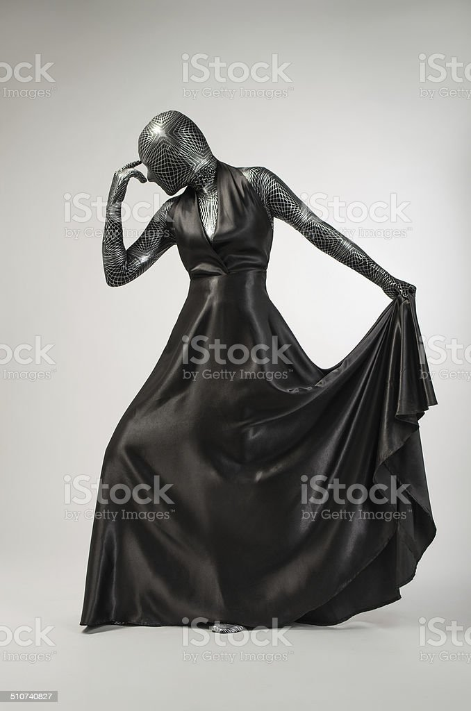 Woman  in black robes royalty-free stock photo