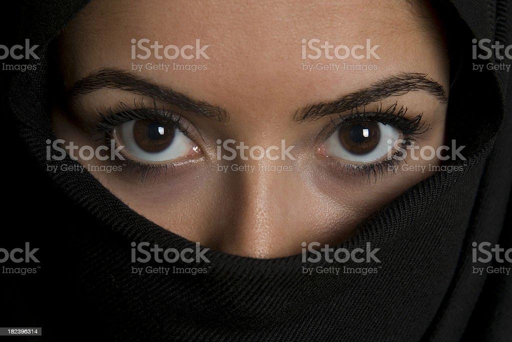 Woman in black scarf stock photo