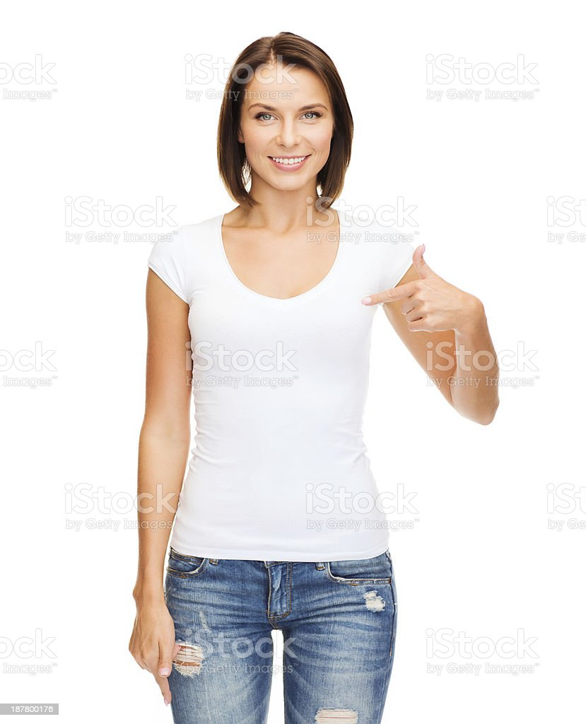 woman in blank white t-shirt royalty-free stock photo