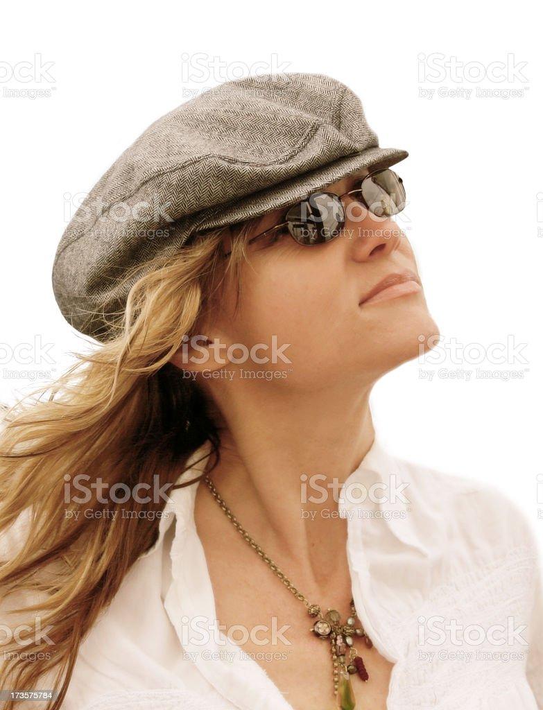 Woman in Breeze stock photo