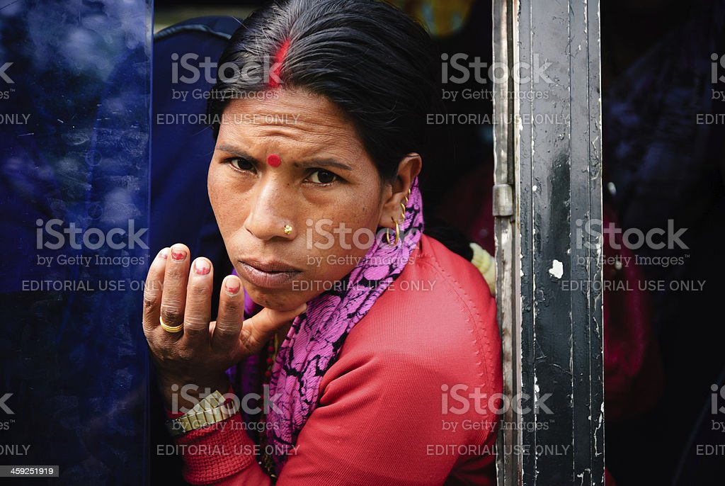 Woman in Bus royalty-free stock photo