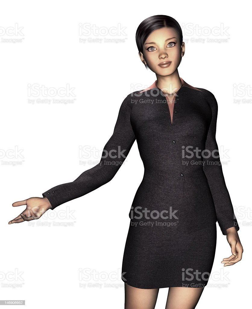 woman in business dress, white background stock photo