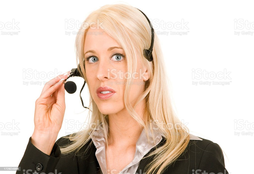 Woman in Business Suit with Telephone Headset royalty-free stock photo