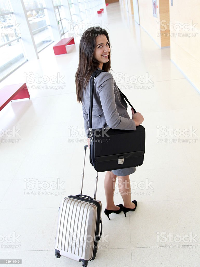 Woman in business travel royalty-free stock photo