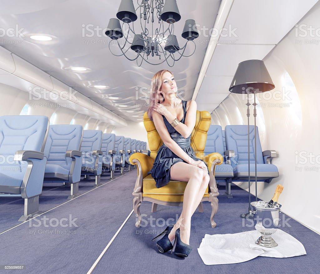 woman  in cabin stock photo