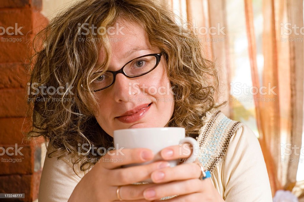 Woman in cafe royalty-free stock photo