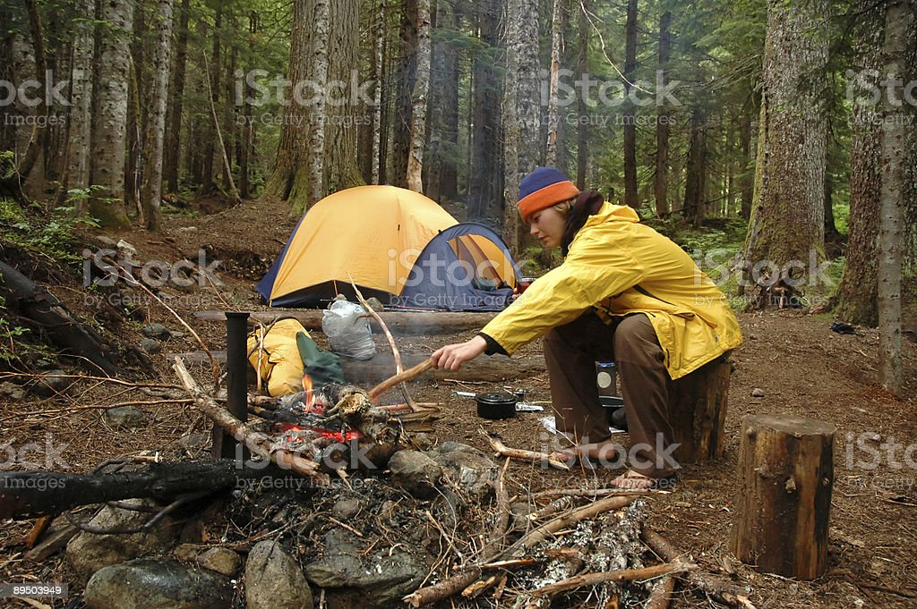 Woman in campsite royalty-free stock photo