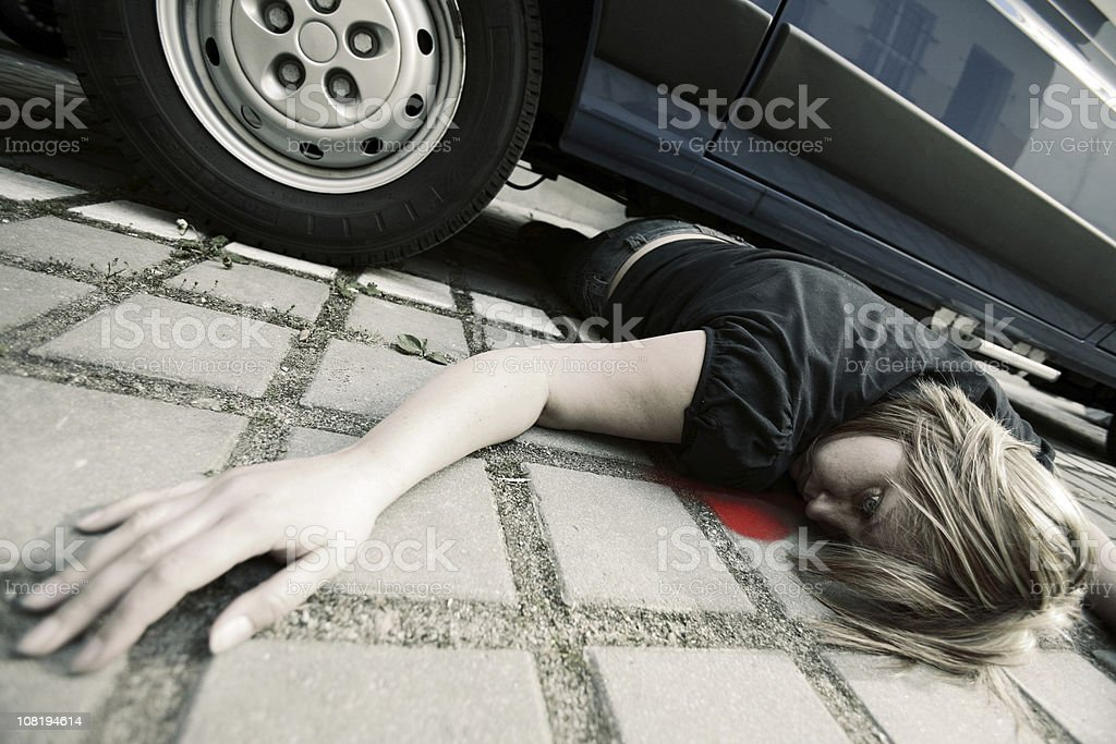 Woman in Car Accident with Blood stock photo