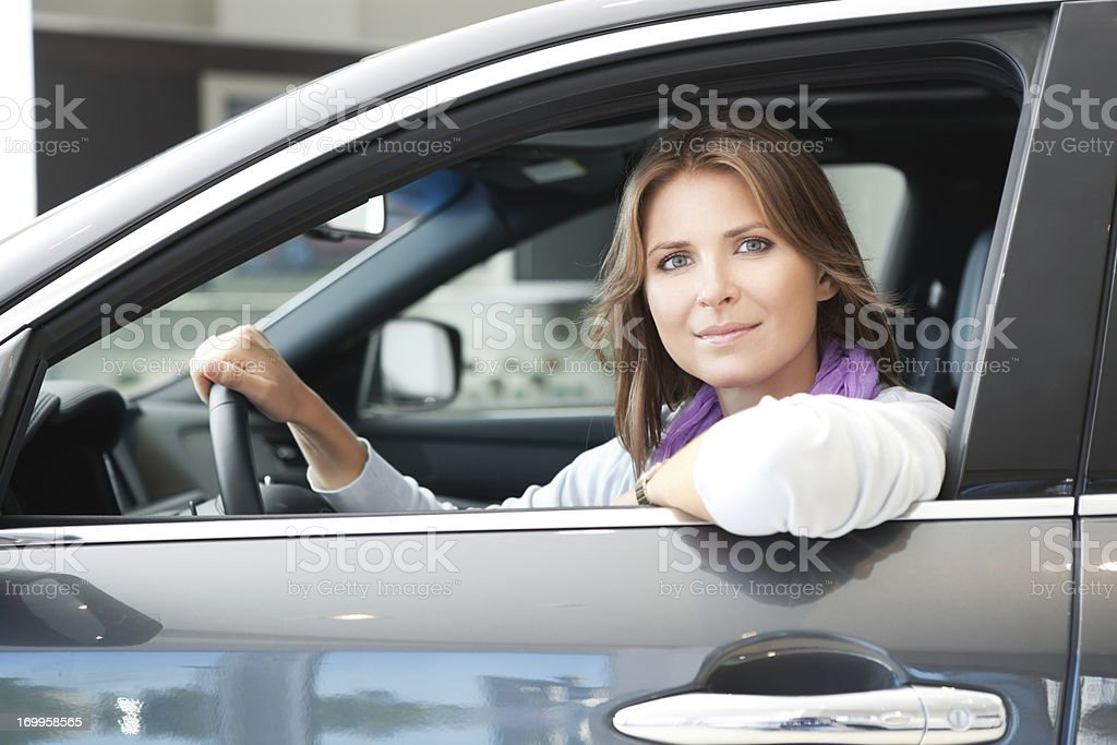 Woman in car. royalty-free stock photo