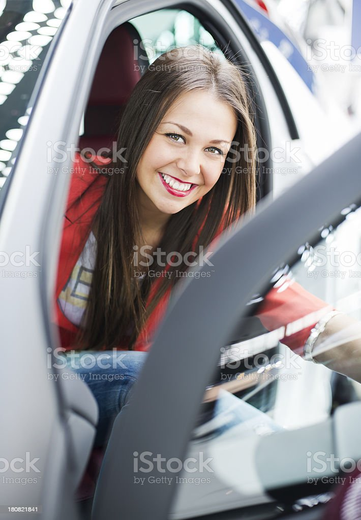 Woman in car royalty-free stock photo