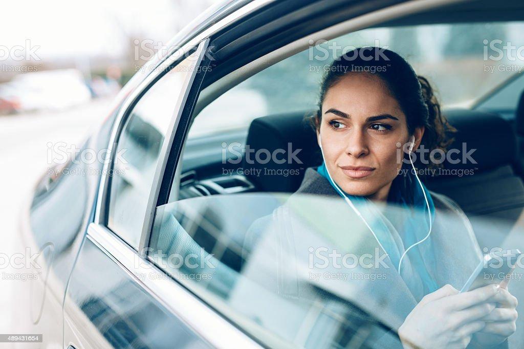 Woman in car stock photo