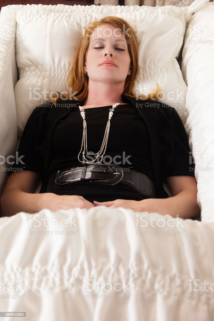 Woman in Casket royalty-free stock photo