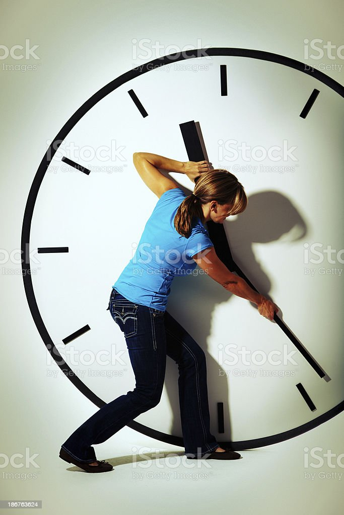 Woman in Casual Clothing Struggling with Time Management_ stock photo