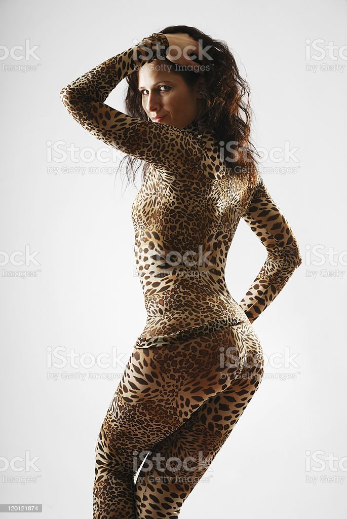 Woman in catsuit as a cat stock photo