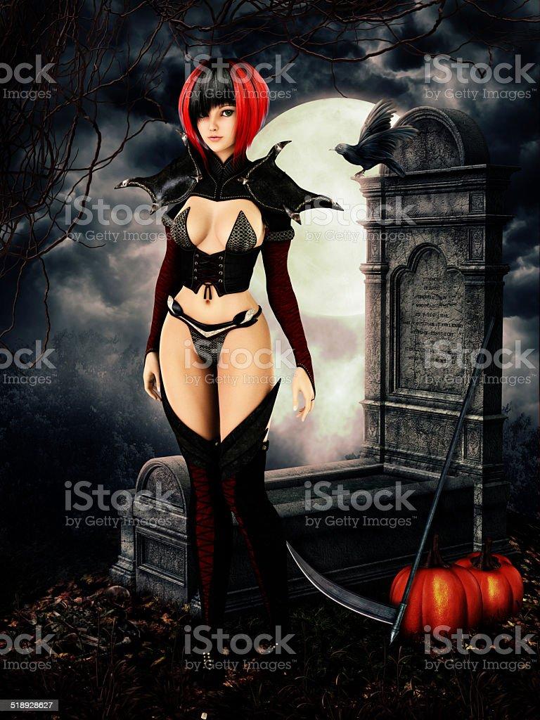 Woman in cemetary on halloween night stock photo
