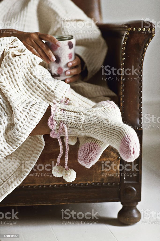 Woman in chair stock photo