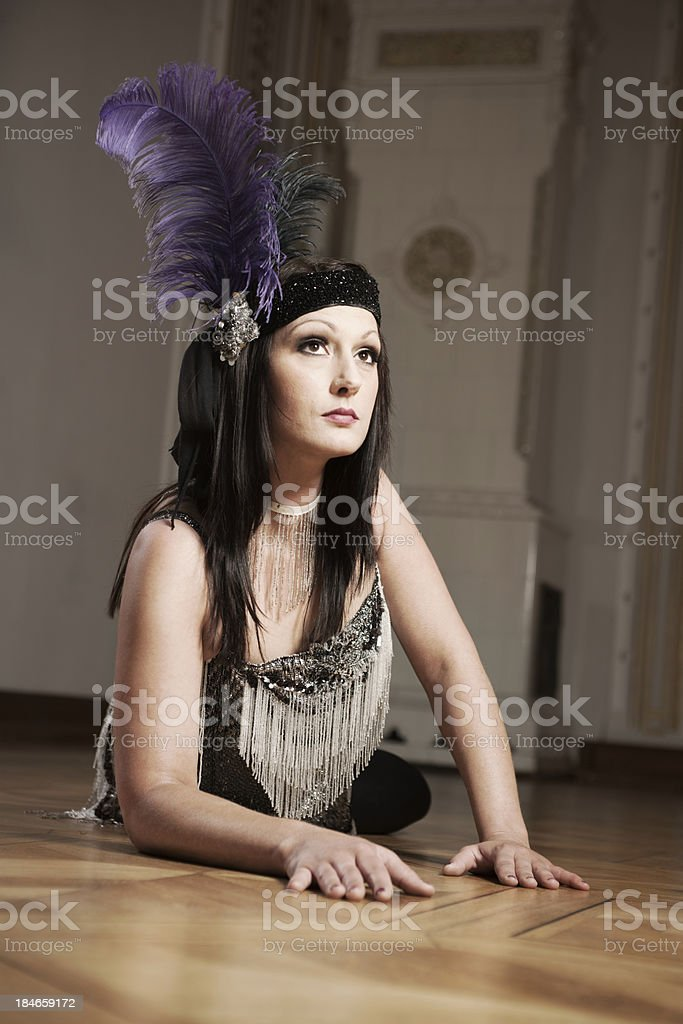 Woman in charlston dress stock photo