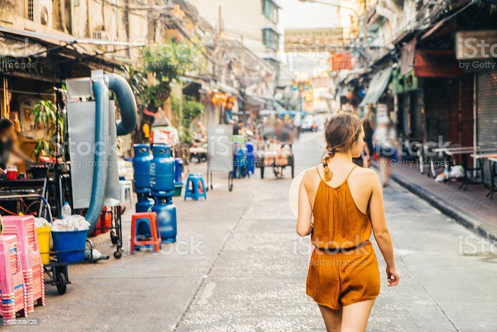 Woman in Chianatown in Bangkok stock photo