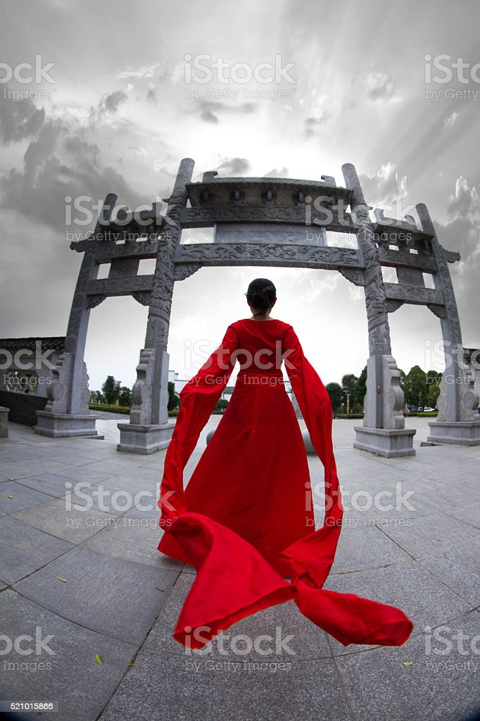 woman in Chinese traditional clothing stock photo