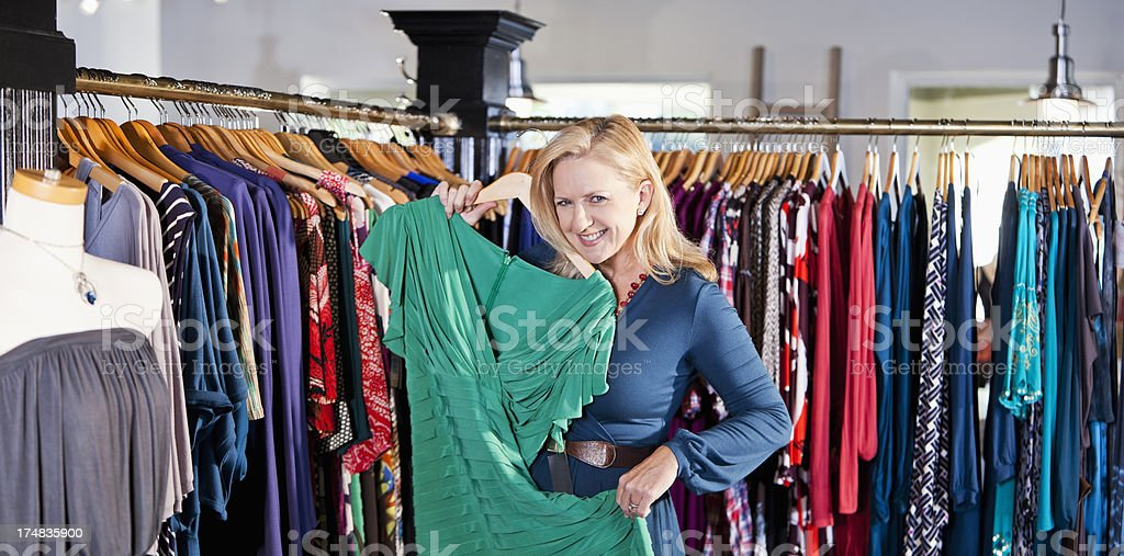 Woman in clothing store royalty-free stock photo