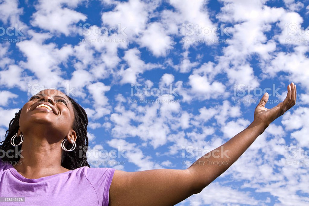 Woman In Clouds stock photo