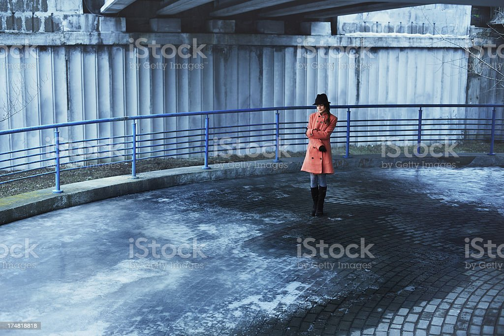 Woman in coat royalty-free stock photo