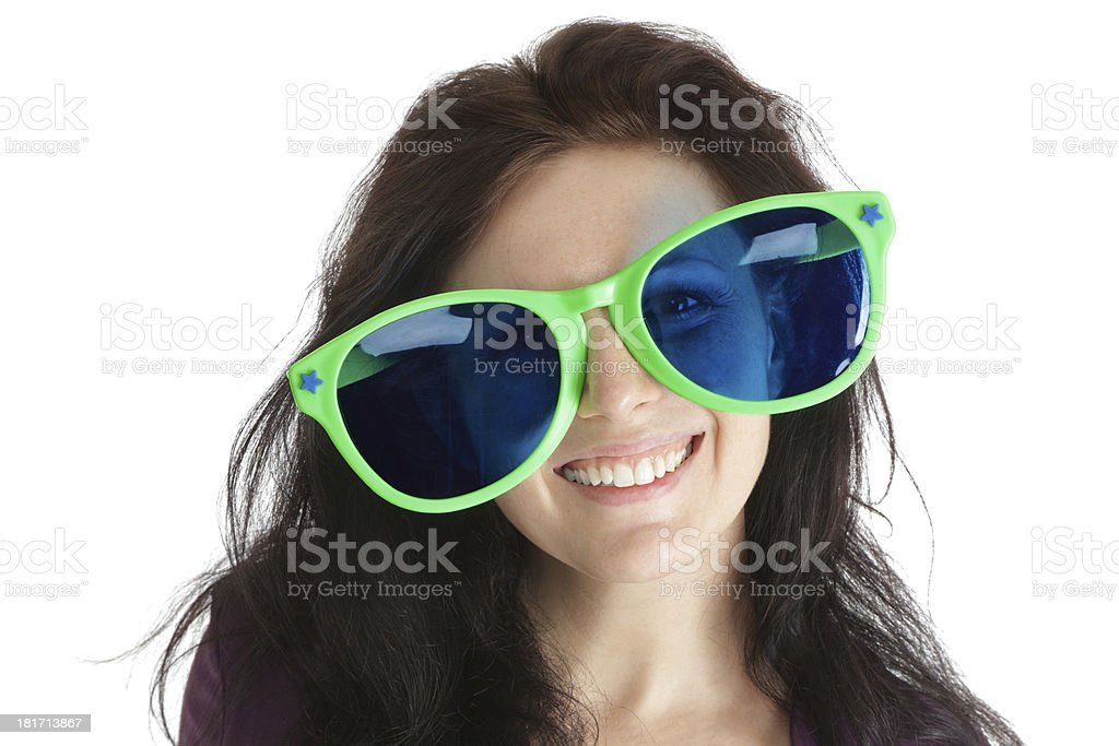 Woman in crazy glasses royalty-free stock photo