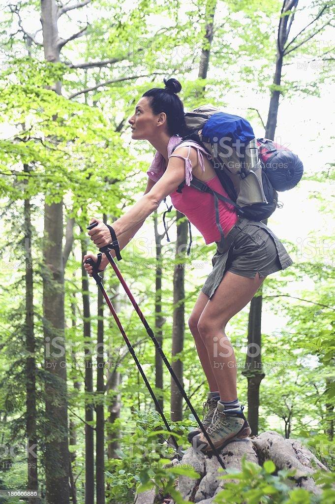 Woman in Croatian woods royalty-free stock photo