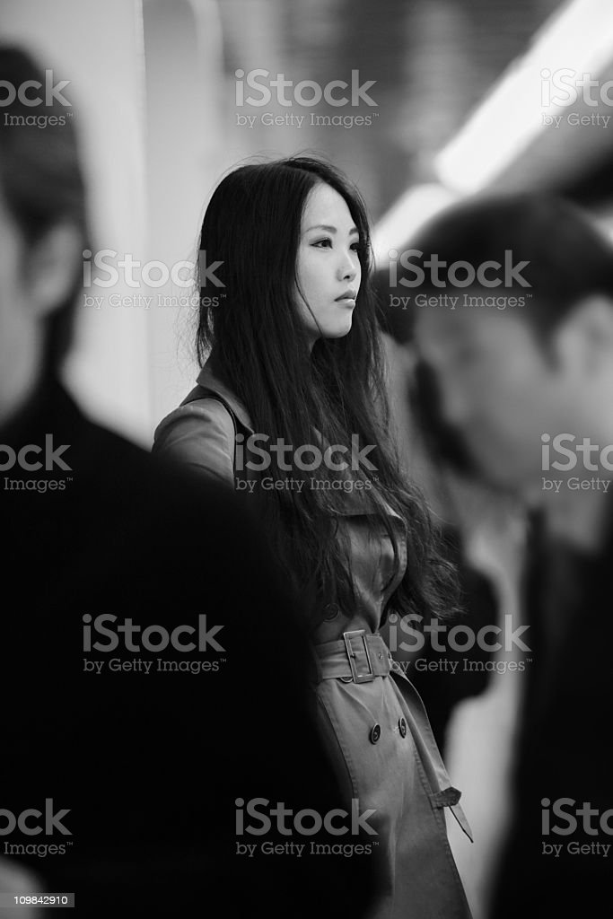 Woman in Crowd, Tokyo, Japan stock photo