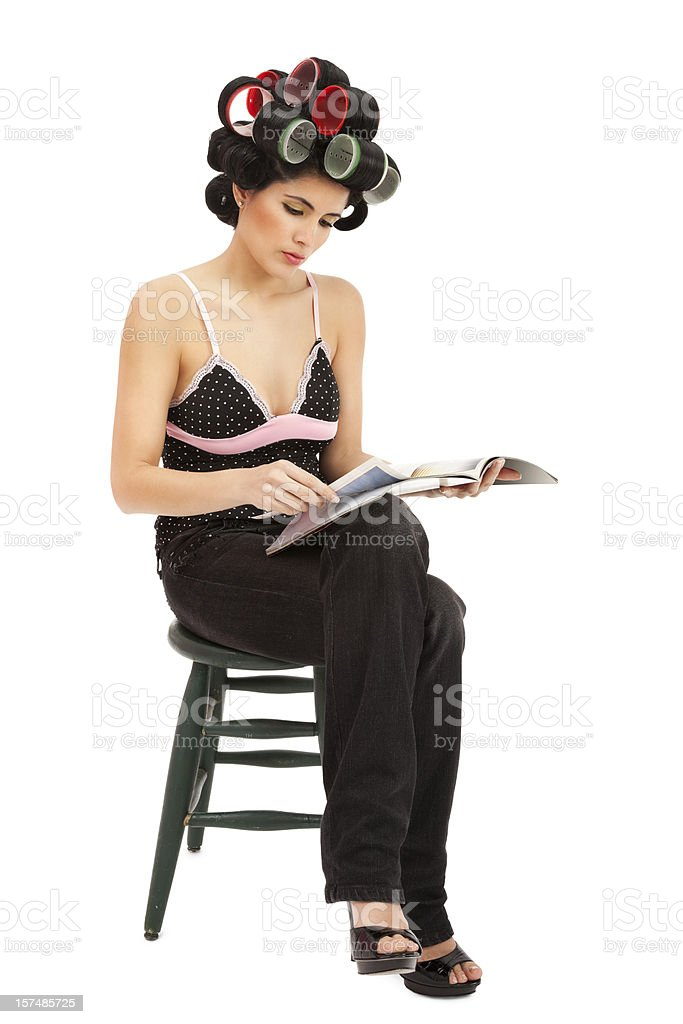 Woman in Curlers Waiting royalty-free stock photo
